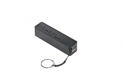 Powerbank schwarz mit 2600 mAh Akku und Micro USB Ladekabel
