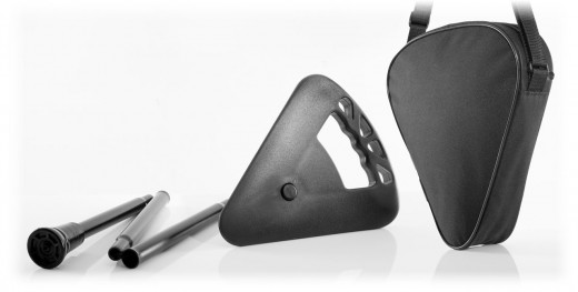 Sitzstock schwarz faltbar mit Tasche extra kurz mit extra breitem Antirutschfuss